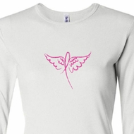 Ladies Shirt Breast Cancer Awareness Wings Ribbon Long Sleeve Tee