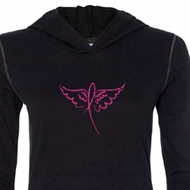 Ladies Shirt Breast Cancer Awareness Wings Ribbon Tri Blend Hoodie Tee