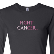 Ladies Shirt Breast Cancer Fight Cancer Long Sleeve Tee T-Shirt