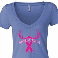 Ladies Shirt Breast Cancer Save a Rack Burnout V-neck Tee T-Shirt