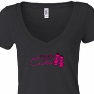 Ladies Shirt Breast Cancer Walkin For a Cure Burnout V-neck Tee