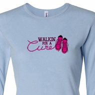 Ladies Shirt Breast Cancer Walkin For a Cure Long Sleeve Tee T-Shirt