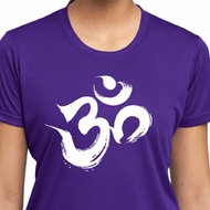 Ladies Shirt Brushstroke Aum Moisture Wicking Tee T-Shirt