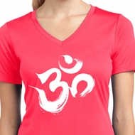Ladies Shirt Brushstroke Aum Moisture Wicking V-neck Tee