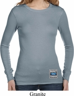 Ladies Shirt Built Ford Tough Bottom Print Long Sleeve Thermal Tee