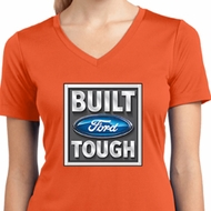 Ladies Shirt Built Ford Tough Moisture Wicking V-neck Tee T-Shirt