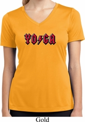 Ladies Shirt Classic Rock Yoga Moisture Wicking V-neck Tee