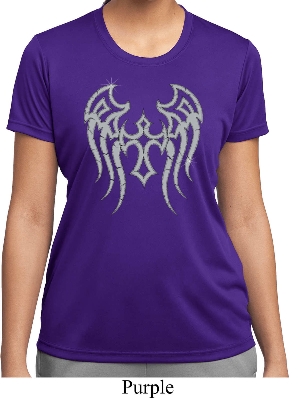 Ladies shirt cross wings moisture wicking tee t shirt for Sweat wicking t shirts