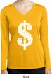 Ladies Shirt Distressed Dollar Sign Dry Wicking Long Sleeve Tee