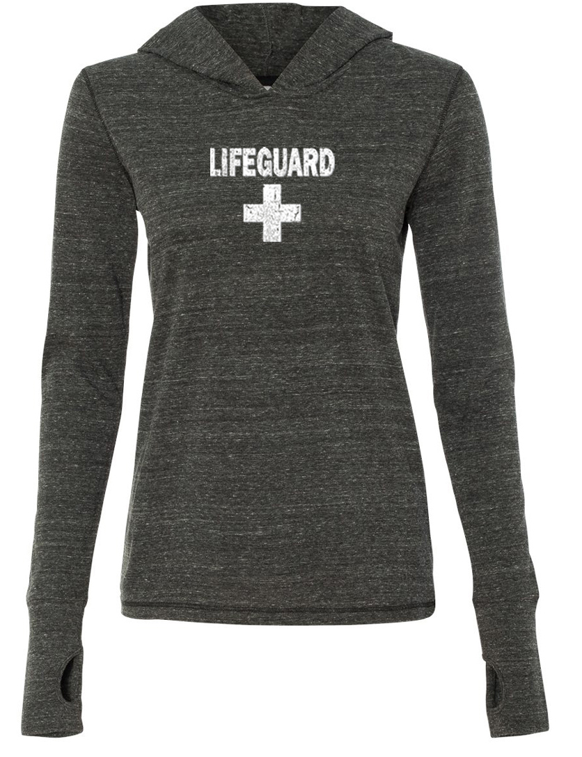 Ladies shirt distressed lifeguard tri blend hoodie tee t for How to make a distressed shirt