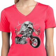 Ladies Shirt Eagle Biker Moisture Wicking V-neck Tee