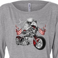Ladies Shirt Eagle Biker Off Shoulder Tee T-Shirt