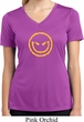 Ladies Shirt Evil Smiley Face Moisture Wicking V-neck Tee T-Shirt