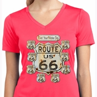Ladies Shirt Get Your Kicks Moisture Wicking V-neck Tee