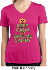 Ladies Shirt Give Me Candy Moisture Wicking V-neck Tee T-Shirt