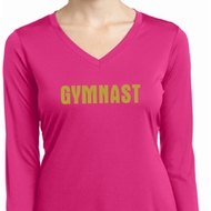 Ladies Shirt Gold Shimmer Gymnast Dry Wicking Long Sleeve Tee