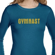 Ladies Shirt Gold Shimmer Gymnast Long Sleeve Thermal Tee T-Shirt