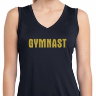 Ladies Shirt Gold Shimmer Gymnast Sleeveless Moisture Wicking Tee