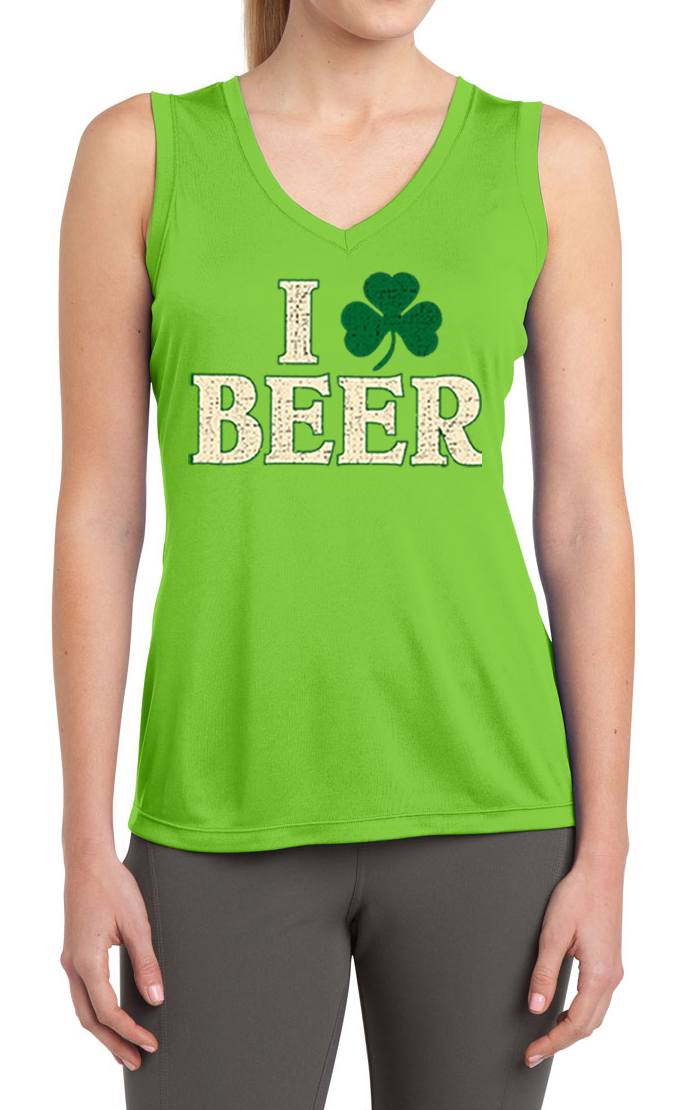 Ladies shirt i love beer moisture wicking sleeveless tee t for I love beer t shirt