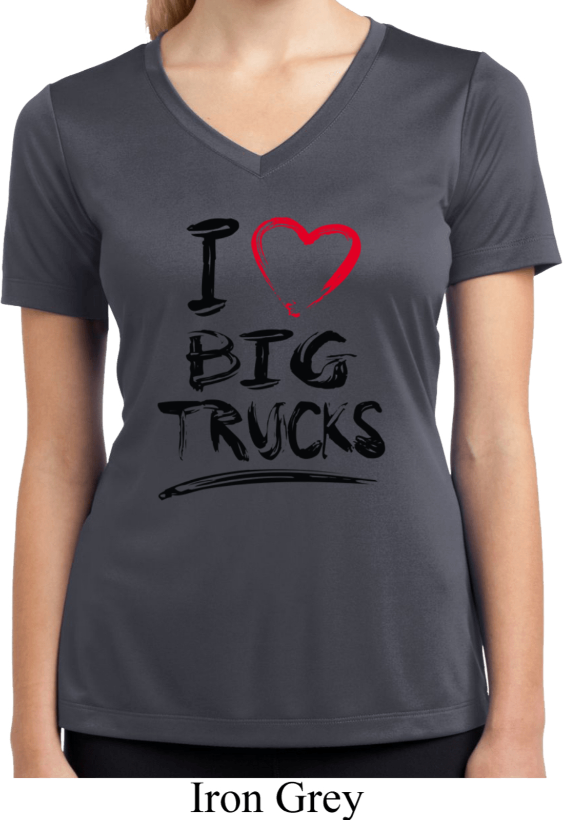 Ladies shirt i love big trucks moisture wicking v neck tee for Large v neck t shirts