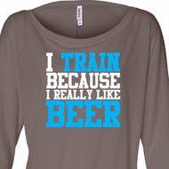 Ladies Shirt I Train For Beer Off Shoulder Tee T-Shirt