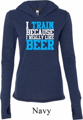 Ladies Shirt I Train For Beer Tri Blend Hoodie Tee T-Shirt