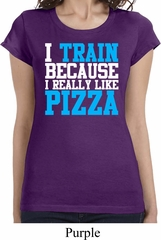 Ladies Shirt I Train For Pizza Longer Length Tee T-Shirt