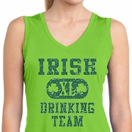 Ladies Shirt Irish Drinking Team Sleeveless Moisture Wicking Tee