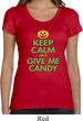 Ladies Shirt Keep Calm and Give Me Candy Scoop Neck Tee T-Shirt