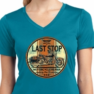 Ladies Shirt Last Stop Moisture Wicking V-neck Tee