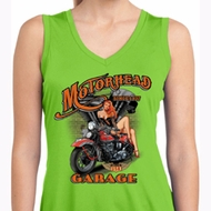 Ladies Shirt Motorhead Garage Sleeveless Moisture Wicking Tee