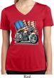 Ladies Shirt Motorcycle Flag Moisture Wicking V-neck Tee