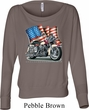 Ladies Shirt Motorcycle Flag Off Shoulder Tee T-Shirt
