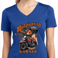 Ladies Shirt Motorhead Garage Moisture Wicking V-neck Tee