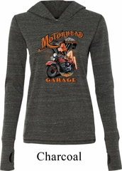 Ladies Shirt Motorhead Garage Tri Blend Hoodie Tee T-Shirt