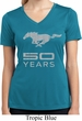 Ladies Shirt Mustang 50 Years Moisture Wicking V-neck Tee T-Shirt