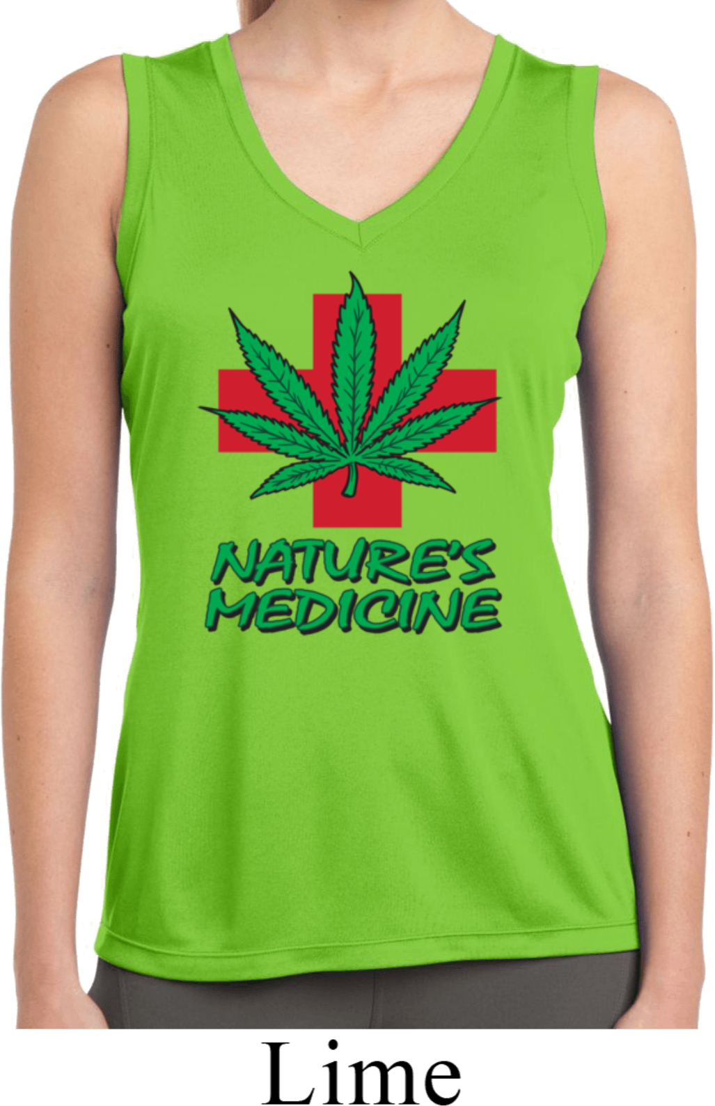 Ladies shirt natures medicine sleeveless moisture wicking for Sweat wicking t shirts