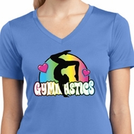 Ladies Shirt Neon Gymnastics Moisture Wicking V-neck Tee