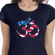 Ladies Shirt Patriotic Om Longer Length Tee T-Shirt