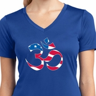 Ladies Shirt Patriotic Om Moisture Wicking V-neck Tee