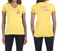 Ladies Shirt Pink Ribbon Fight Cancer Front & Back Print V-neck Tee