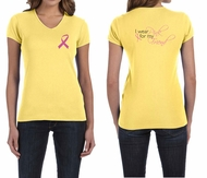 Ladies Shirt Pink Ribbon For My Friend Front & Back Print V-neck Tee
