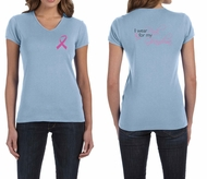 Ladies Shirt Pink Ribbon For My Grandma Front & Back Print V-neck Tee