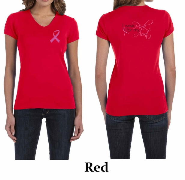 Ladies shirt pink ribbon my aunt front back print v neck for Pink ladies tee shirts