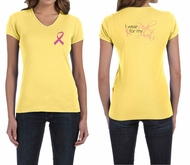 Ladies Shirt Pink Ribbon My Aunt Front & Back Print V-neck Tee T-Shirt