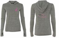 Ladies Shirt Pink Ribbon My Grandma Front & Back Tri Blend Hoodie Tee