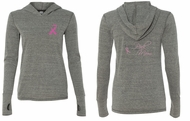 Ladies Shirt Pink Ribbon My Mom Front & Back Tri Blend Hoodie Tee