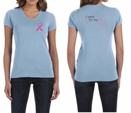 Ladies Shirt Pink Ribbon Pink For My Sister Front & Back V-neck Tee