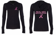 Ladies Shirt Pink Ribbon Real Men Front & Back Print Tri Blend Hoodie