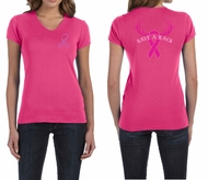 Ladies Shirt Pink Ribbon Save a Rack Front & Back Print V-neck Tee